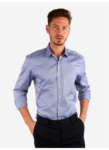 Dufy Koyu Mavı Pamuklu Klasık Erkek Gömlek - Regular Fıt Lacivert